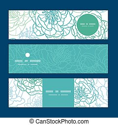 Vector blue line art flowers horizontal banners set pattern background