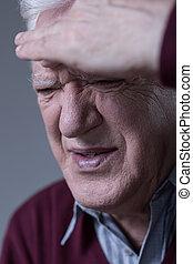 Man having sinus pain