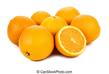 still life of oranges isolated on a white background