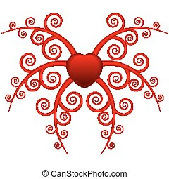 red heart and symetric floral design with spirals.