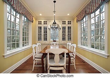 Eating area with windows