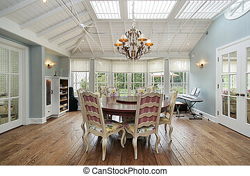 Eating area with skylights - Eating area in luxury home with...