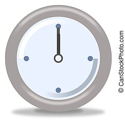 Clock Twelve - Silver and blue clock on white background...