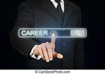 Businessman searching for career - Businessman clicking...