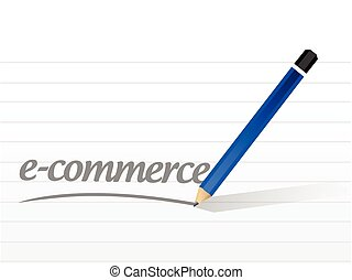 e-commerce message sign illustration design over a white...