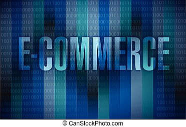 e-commerce signillustration design over a dark binary...