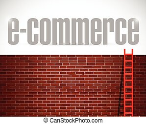 e-commerce ladder illustration design over brick wall...