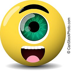 cute cyclop character,isolated yellow version