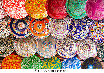 Traditional arabic colorful clay plates. - Traditional...