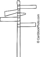 Outline of Street Signs - Cartoon outline of blank street...