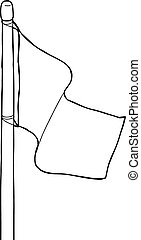 Outline of Flagpole - Outline cartoon of single blank flag...