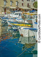Moored boats in Supetar - Moored fishing boats in Supetar...