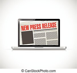new press release computer news illustration design over a...