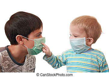 Children in medical masks - Sad sick brothers, 2 and 15...