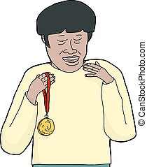 Smiling Asian Man with Medal