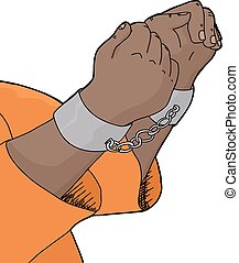 Isolated Cuffed Hands - Isolated cartoon of hands in pair of...