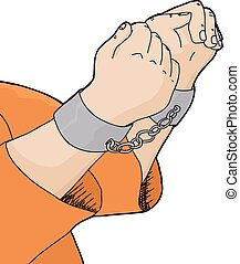 Cuffed Hands and Orange Shirt - Cartoon of hands in...