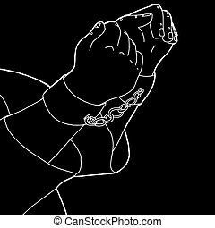 White Outline of Cuffed Hands - White outline cartoon of man...