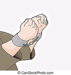 Prisoner in Handcuffs Closeup - Hand drawn cartoon close up...