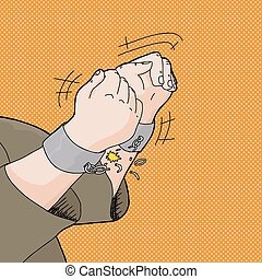 Breaking Out of Handcuffs - Cartoon of captive hands...