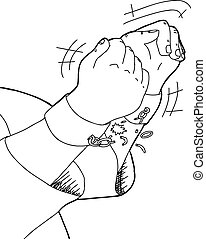 Outline of Hands Breaking Shackles - Outline cartoon of...