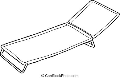 Outline of Cot - Cartoon outline of cot over white...