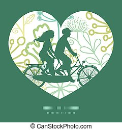Vector mysterious green garden couple on tandem bicycle...