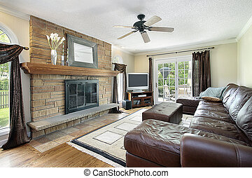 Family room with fireplace - Family room in suburban home...