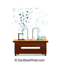desk and chemical tubes infographic with icons