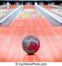 Ball brown on bowling alley - Ball brown with beautiful...
