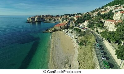 Dubrovnik old town panorama - Aerial morning panorama with...