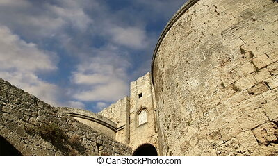 Medieval city walls in Rhodes town, Greece time lapse