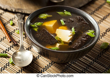 Hot Homemade Miso Soup with Tofu and Seaweed