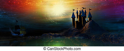 Magical Castle - Castle sits upon a mountain on the waters...