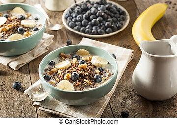 orgánico, desayuno, Quinoa, con, nueces,