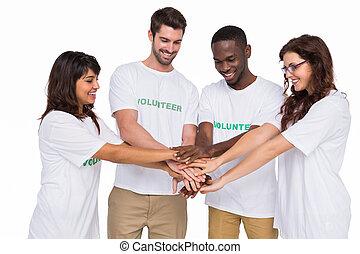 Trabalho equipe, participar, em, caridade, junto,