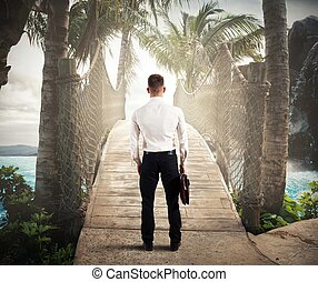 Holidays businessman - Businessman is finally enjoying his...