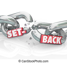 Setback Word Broken Chain Links Negative Outcome Obstacle Challe