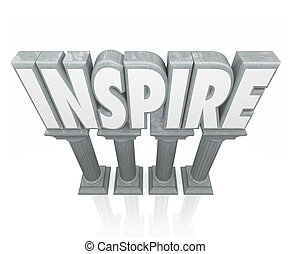 Inspire 3d Word Stone Marble Columns Encourage Success Motivatio