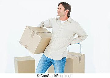 entrega, homem, com, papelão, box, ,