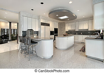 White kitchen in luxury home - White kitchen with two...