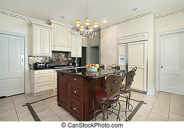 Kitchen with wood and granite island - Kitchen in luxury...