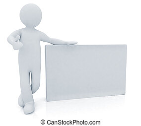 3d human with blank billboard