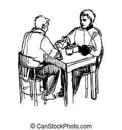 a sketch of a man conversing over dinner at a table in a...