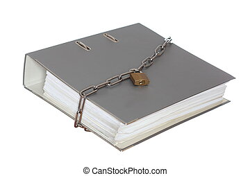 grey file folder with chain and padlock on white background