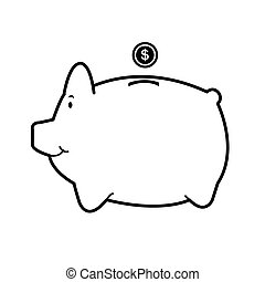 piggy bank isolate on white vector - image of piggy bank...