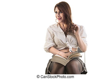 Happy Woman Sitting On Chair With Book