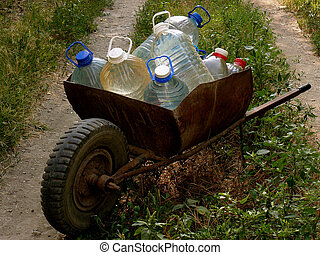 carriage of water bottles