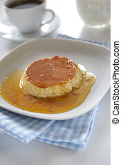 Flan with caramel on a plate