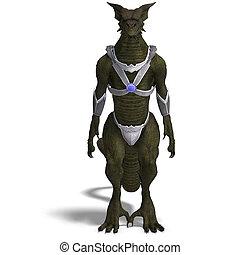 Fantasy Dragon Warrior - 3D rendering of a Fantasy Dragon...